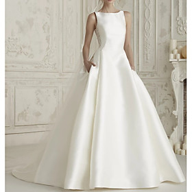 A-Line Wedding Dresses Bateau Neck Court Train Satin Regular Straps Simple Sparkle  Shine with Bow(s) Buttons Lace Insert 2020