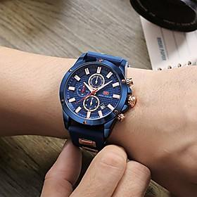 Men's Sport Watch Wrist Watch Aviation Watch Japanese Quartz Silicone Black / Blue 30 m Calendar / date / day Stopwatch Noctilucent Analog Luxury Casual Fashio