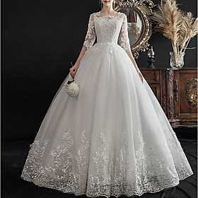 A-Line Wedding Dresses Jewel Neck Sweep / Brush Train Lace Half Sleeve Glamorous See-Through Illusion Sleeve with Lace Insert Appliques 2020