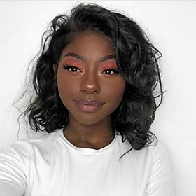 Human Hair Lace Front Wig Bob Short Bob Free Part style Brazilian Hair Wavy Black Wig 130% Density with Baby Hair Natural Hairline For Black Women 100% Virgin
