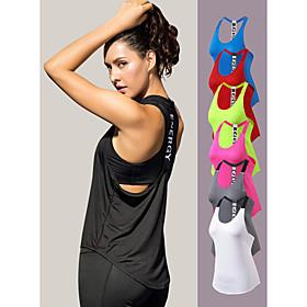 YUERLIAN Women's Running Tank Top T Back White Black Red Fuchsia Blue Mesh Spandex Yoga Fitness Gym Workout Vest / Gilet Sport Activewear Lightweight
