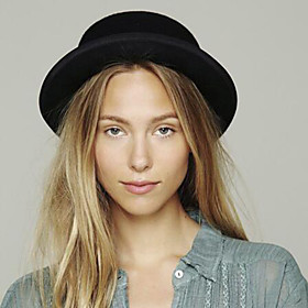 Women's Basic Cute Wool Cotton Fedora Hat-Solid Colored All Seasons Black