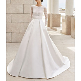 A-Line Wedding Dresses Jewel Neck Court Train Lace Satin Long Sleeve Simple Elegant with Lace Insert 2020