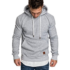 Men's Hoodie Solid Colored Hooded Casual Hoodies Sweatshirts  Black Light gray Navy Blue