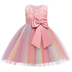 Kids Girls' Active Sweet Patchwork Bow Pleated Sleeveless Knee-length Dress Purple