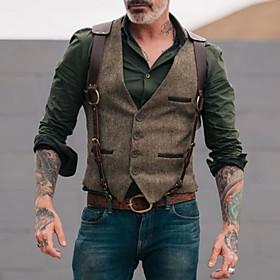 Men's Vest, Solid Colored V Neck Polyester Brown