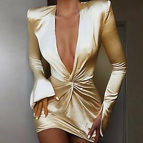 Women's Mini Sheath Dress - Long Sleeve Solid Colored Deep V Slim Silver S M L XL