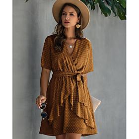 Women's A-Line Dress Half Sleeve Polka Dot V Neck Yellow Wine Light Brown Green Navy Blue Light Blue S M L XL XXL