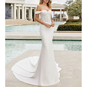 Mermaid / Trumpet Wedding Dresses Off Shoulder Court Train Lace Satin Cap Sleeve with Lace Insert 2020