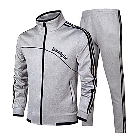 Men's 2-Piece Side-Stripe Elastane Tracksuit Sweatsuit Jogging Suit 2pcs Winter Mandarin Collar Running Fitness Jogging Windproof Breathable Soft Sportswear Cl