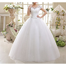 A-Line Wedding Dresses Jewel Neck Floor Length Lace Short Sleeve with Lace Insert Appliques 2020
