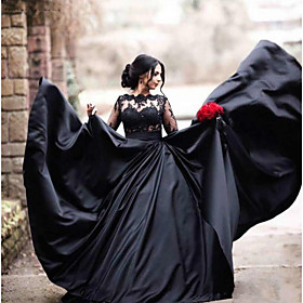 A-Line Wedding Dresses Bateau Neck Floor Length Lace Satin Long Sleeve Black Modern Illusion Sleeve with Draping Appliques 2020 / Bell Sleeve