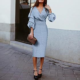 Women's A-Line Dress Midi Dress - 3/4 Length Sleeve Polka Dot Spring  Summer V Neck 2020 Blue S M L XL