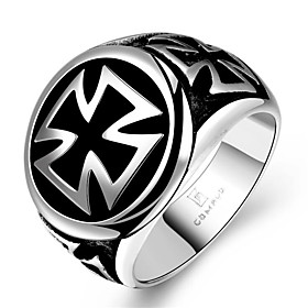 Men's Ring 1pc Silver Tungsten Steel Geometric Fashion Daily Holiday Jewelry Geometrical Cross Cool