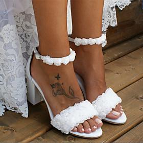 Women's Wedding Shoes Boho / Beach Chunky Heel Open Toe Sweet Minimalism Wedding Party  Evening Satin Flower Solid Colored Satin Walking Shoes Summer White / I