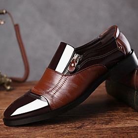 Men's Loafers  Slip-Ons Comfort Shoes Daily Patent Leather Black / Brown Color Block Fall  Winter