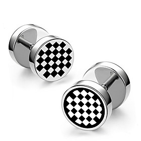 Men's Earrings Classic Mini Earrings Jewelry Black / Silver For Christmas Party Anniversary Carnival Festival 1pc