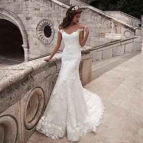 Mermaid / Trumpet Wedding Dresses Off Shoulder Court Train Lace Tulle Lace Over Satin Short Sleeve Illusion Detail Backless with Appliques 2020