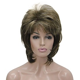 Synthetic Wig Wavy Wavy Layered Haircut With Bangs Wig Medium Length Ash Brown Synthetic Hair Women's Brown