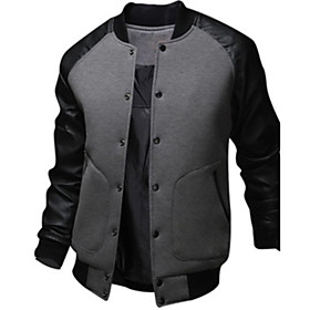 Men's Daily EU / US Size Regular Jacket, Color Block Stand Long Sleeve Polyester Black / Dark Gray / Light gray