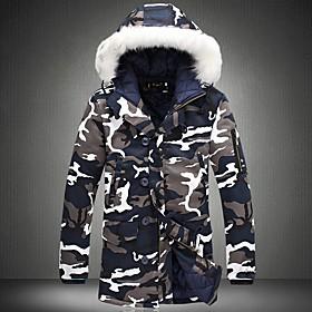 Men's Camouflage Padded, Polyester Army Green / Blue US32 / UK32 / EU40 / US34 / UK34 / EU42