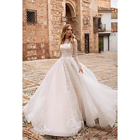 Ball Gown Wedding Dresses Jewel Neck Sweep / Brush Train Lace Tulle Long Sleeve Romantic See-Through Illusion Sleeve with Lace Appliques 2020