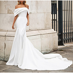 Mermaid / Trumpet Wedding Dresses Off Shoulder Court Train Satin Short Sleeve Romantic Plus Size Modern with Bow(s) 2020