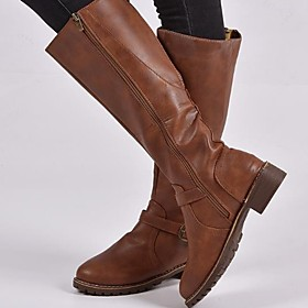 Women's Boots Block Heel Round Toe PU Mid-Calf Boots Winter Black / Brown / Coffee