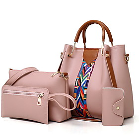 Women's Bags PU Leather Bag Set 4 Pieces Purse Set Zipper Solid Color for Daily White / Black / Red / Blushing Pink / Bag Sets