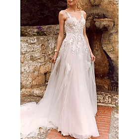 A-Line Wedding Dresses V Neck Court Train Chiffon Tulle Spaghetti Strap Illusion Detail with Lace Insert 2020