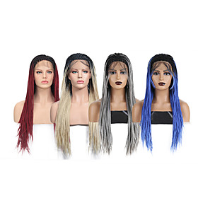 Synthetic Lace Front Wig Box Braids with Baby Hair Lace Front Wig Ombre Long Ombre Blonde Ombre Grey Black / Red Black / Blue Synthetic Hair 18-24 inch Women's