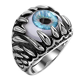 Men's Ring 1pc Silver Steel Geometric Fashion Daily Holiday Jewelry Geometrical Eyes Cool