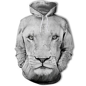 Men's Plus Size Hoodie Lion Print / 3D Hooded Active Long Sleeve White Black Yellow Orange Brown Rainbow S M L XL XXL XXXL XXXXL XXXXXL XXXXXXL / Winter