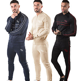 Men's 2-Piece Full Zip Tracksuit Sweatsuit Jogging Suit Casual Long Sleeve Front Zipper Cotton Thermal / Warm Breathable Soft Fitness Running Jogging Sportswea