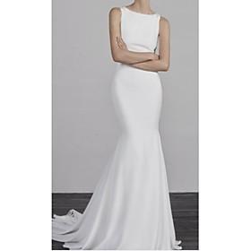 Mermaid / Trumpet Wedding Dresses Bateau Neck Court Train Charmeuse Regular Straps Formal Plus Size with Appliques 2020