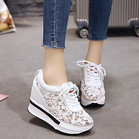 Women's Trainers / Athletic Shoes Spring Summer Wedge Heel Round Toe Sexy Sweet Daily Outdoor Solid Colored PU Running Shoes White / Black
