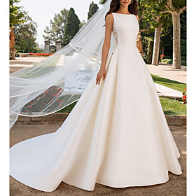 A-Line Wedding Dresses Bateau Neck Court Train Satin Regular Straps Romantic Plus Size Elegant with Bow(s) Buttons Lace Insert 2020