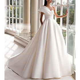 A-Line Wedding Dresses One Shoulder Sweep / Brush Train Satin Short Sleeve Plus Size Modern with Buttons Ruched 2020
