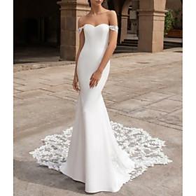 Mermaid / Trumpet Wedding Dresses Off Shoulder Court Train Lace Cap Sleeve Plus Size with Lace Insert 2020