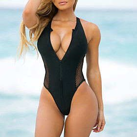 Women's Triangle Sexy Boho One-piece Swimsuit Mesh Slim Zipper Color Block Plunging Neck Swimwear Bathing Suits Black Blue Red / Padded Bras