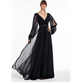 A-Line Empire Black Holiday Formal Evening Dress V Neck Long Sleeve Floor Length Chiffon with Beading 2020