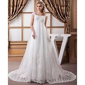 A-Line Wedding Dresses Square Neck Court Train Lace Organza Satin Cap Sleeve Formal Vintage Illusion Detail Plus Size with Beading Applique