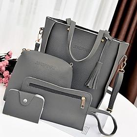 Women's Zipper Cowhide Bag Set Solid Color 4 Pieces Purse Set Black / Red / Gray