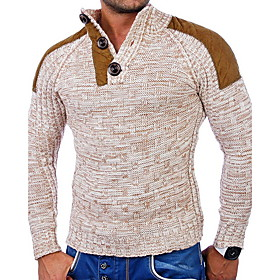Men's Color Block Pullover Long Sleeve Sweater Cardigans Stand Collar Wine Navy Blue Beige