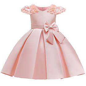 Kids Girls' Active Sweet Solid Colored Short Sleeve Knee-length Dress Dusty Rose