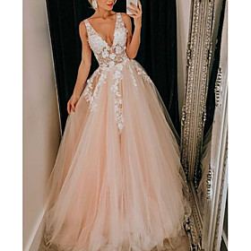A-Line Wedding Dresses V Neck Floor Length Lace Tulle Regular Straps Boho Plus Size with Appliques 2020