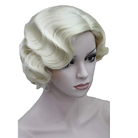Synthetic Wig Loose Wave Finger Wave Loose Wave Wig Blonde Short Blonde Synthetic Hair Women's Side Part Blonde StrongBeauty