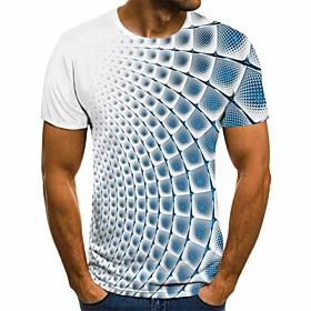Men's 3D Graphic Slim T-shirt Daily Round Neck White / Short Sleeve
