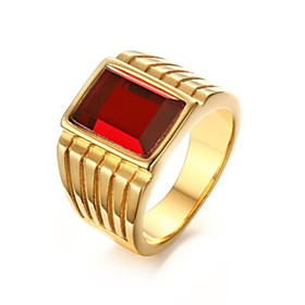 Men's Ring Synthetic Ruby 1pc Gold Stainless Steel Geometric Fashion Daily Holiday Jewelry Geometrical Flower Cool