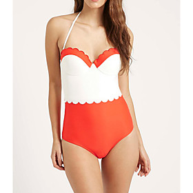 Women's Halter Cheeky One-piece Swimwear Swimsuit - Solid Colored S M L Orange